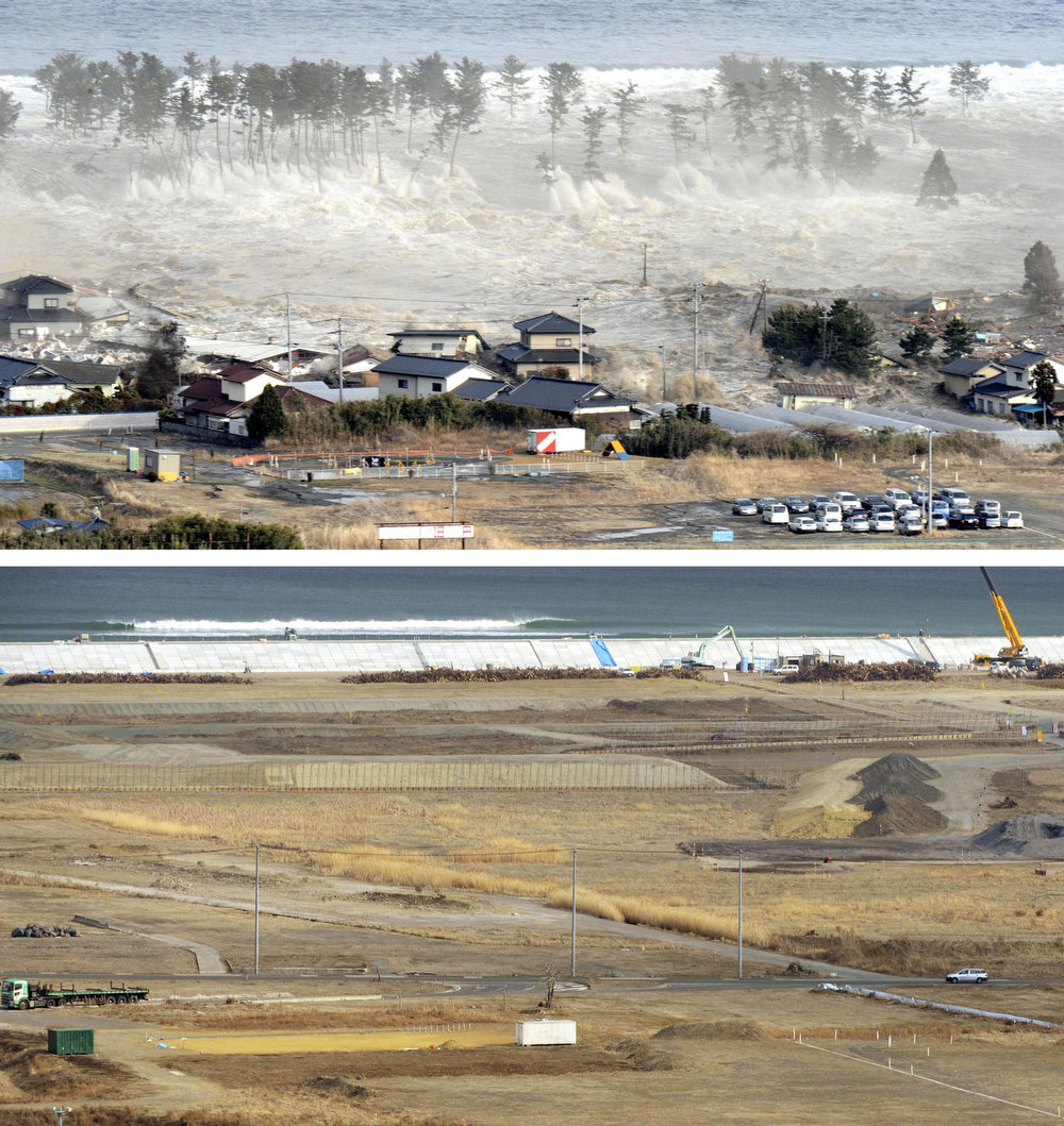 . This combination photo taken March 11, 2011, top, and Wednesday, March 6, 2013 shows a coastal residential area in Natori, Miyagi prefecture. Japan next week observes two years from the March 11, 2011 earthquake and tsunami which devastated the northeastern Pacific coast of the country. Japan\'s progress in rebuilding from the mountain of water that thundered over coastal sea walls, sweeping entire communities away and killing nearly 19,000 people, is mainly measured in barren foundations and empty spaces. Clearing of forests on higher ground to make space for relocation of survivors has barely begun. (AP Photo/Kyodo News)