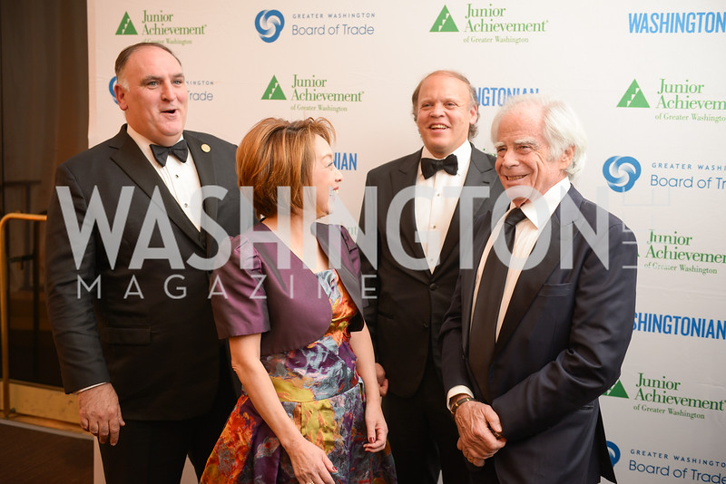 Jose Andres, Sachiko Kuno, Mark Ein, Ben Jacobs,  The Washington Business Hall of Fame, at the National Building Museum, November 28, 2018.  Photo by Ben Droz.