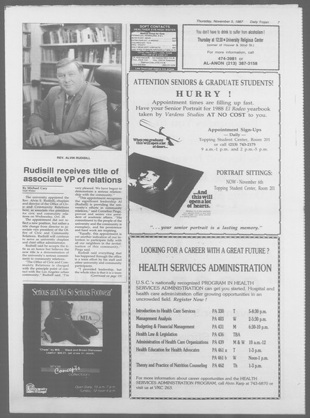 Daily Trojan, Vol. 105, No. 45, November 05, 1987