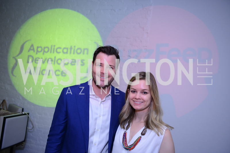Lucien Zeigler, Sophie Pyle. Photo by Ben Droz. White House Correspondents' House of Code Brunch hosted by Buzzfeed and App Developers Alliance. Kinship Restaurant. April 30, 2016.