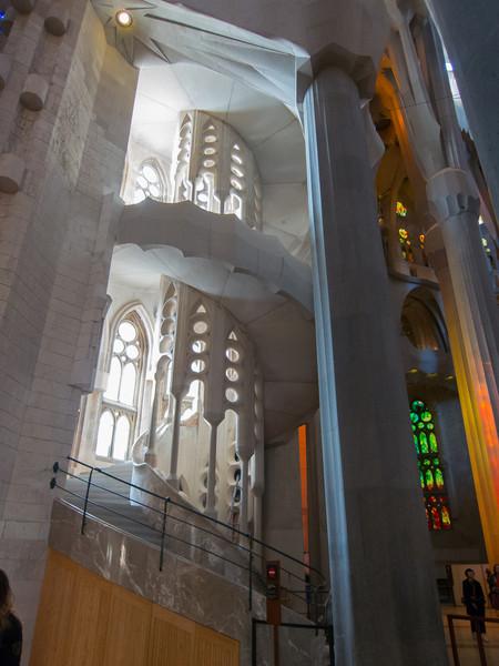 An interior staircase inside Sagrada Família.