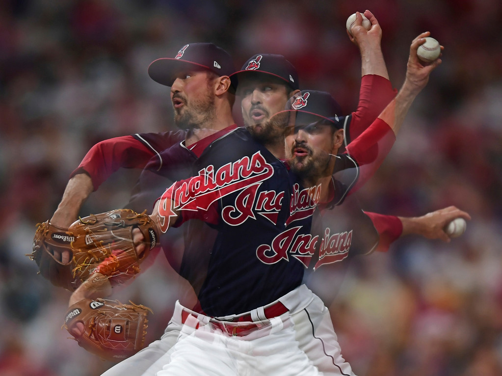 . Cleveland Indians relief pitcher Andrew Miller delivers in the seventh inning of a baseball game against the Houston Astros, Friday, May 25, 2018, in Cleveland. (AP Photo/David Dermer)