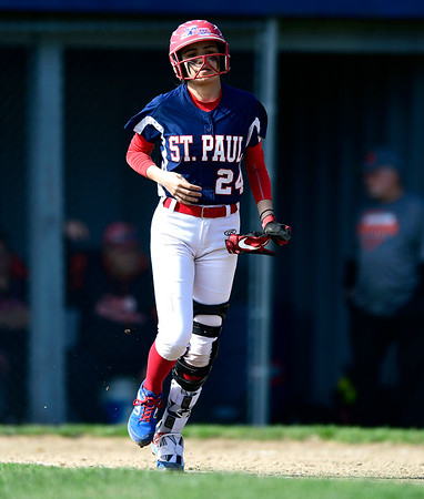4/17/2019 Mike Orazzi | Staff St. Paul softball's Janessa Gonzalez (24) during Wednesday's game with Watertown in Bristol.