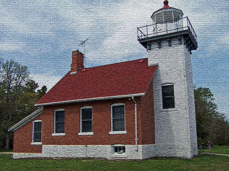 Sherwood Point Lighthouse at the southern end of Sturgeon Bay in Door County, Wisconsin.
