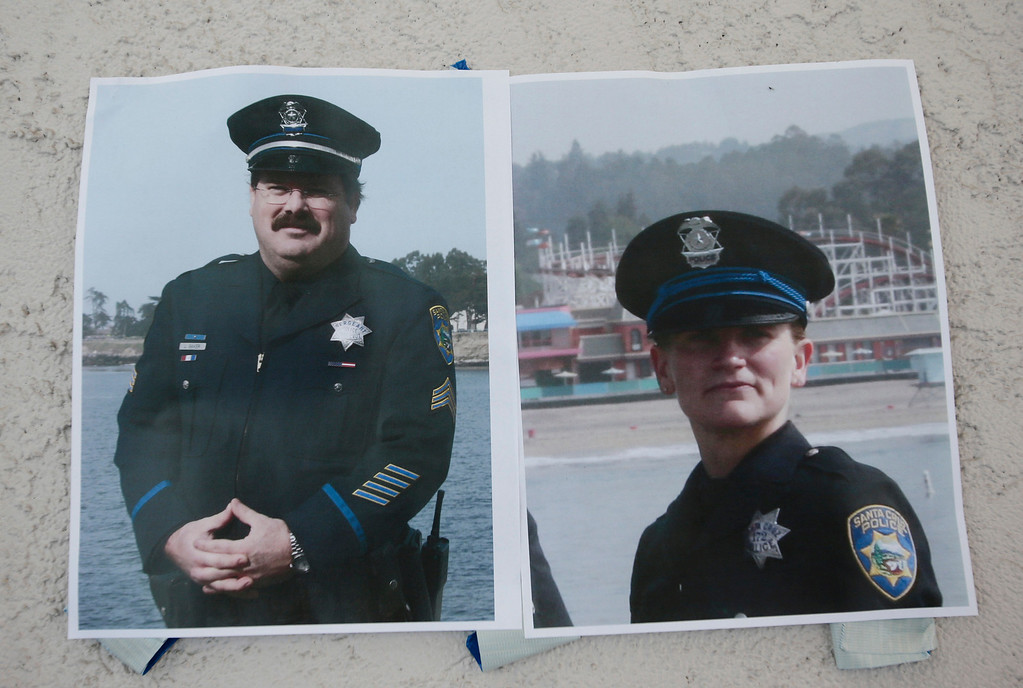 """. Authorities provided these photos of slain Santa Cruz police officers, detective Sgt. Loran \""""Butch\"""" Baker and detective Elizabeth Butler during a press conference in front of the police department in Santa Cruz, Calif. on Wednesday, Feb. 27, 2013. The pair were gunned down yesterday while investigating a possible domestic violence or sexual assault when a suspect fired at them. The gunman, Jeremy Peter Goulet, was later gunned down when he exchanged gunfire with police during a manhunt. (Gary Reyes/ Staff)"""