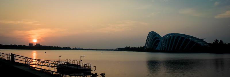 Sunrise over Singapore harbor