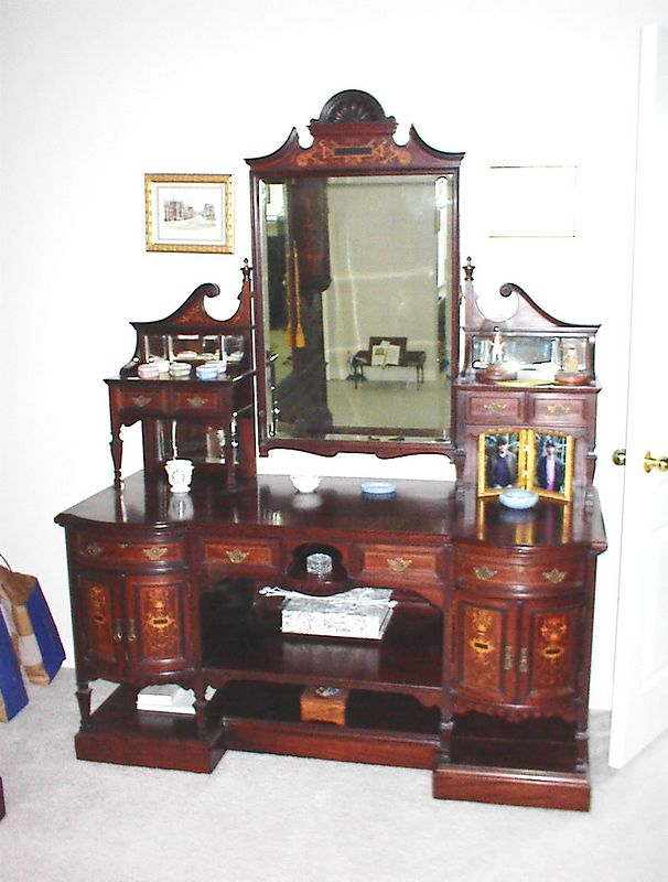 Master Bedroom - Late 19th century mahogany dresser, inlaid with satinwood marquetry. Part of a three piece suite.