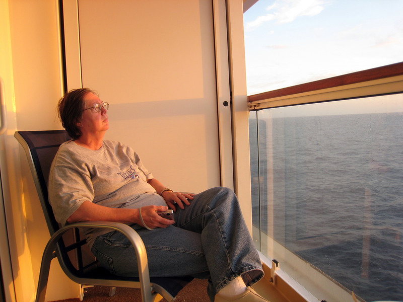 Pat Cruising into Sunset - Our last night on board