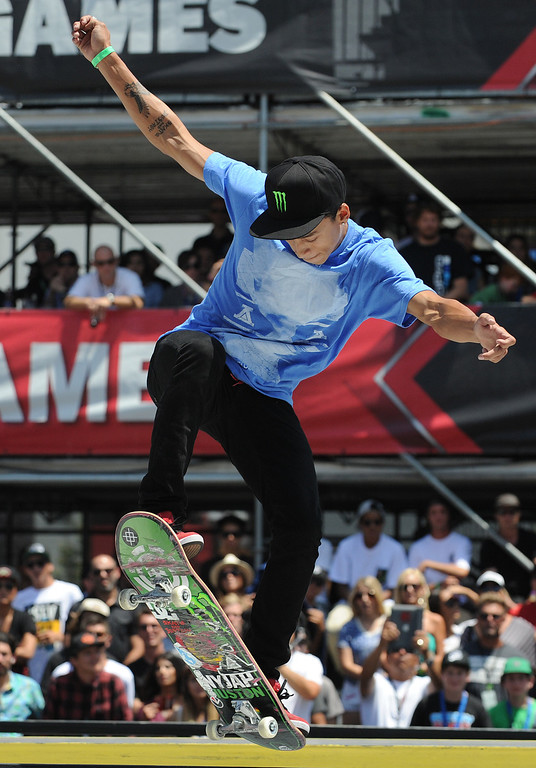 . Nyjah Huston rides his board to first place in the Street League Skateboarding final at L.A. Live in Los Angeles, CA. 8/3/2013(John McCoy/LA Daily News)