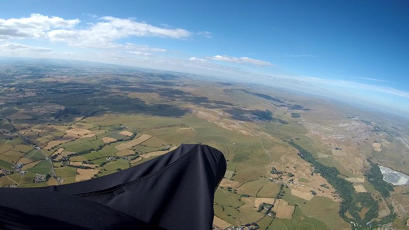 Got a slow climb above Ingleton ... at least one more required but sky doesn't look promising.  Got partway into Kingsdale before turning back to land at the Mason's. Nearly made it.