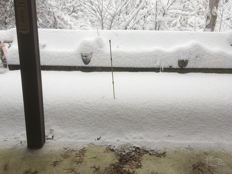 About 13 inches -- the black bulge on stick is at 22 inches.
