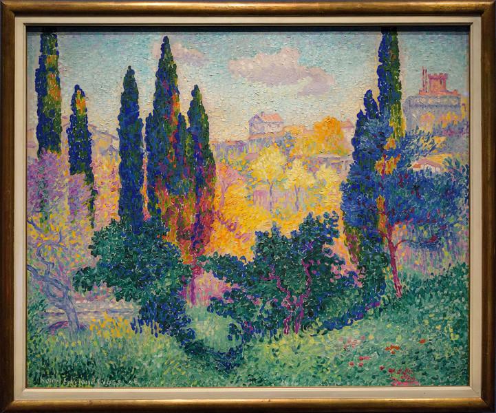 Henri-Edmond Cross, Les cyprès à Cagnes, 1908