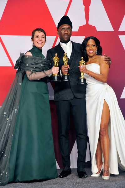 "ACADEMY AWARDS 91ST OSCARS PRESSROOM HELD AT THE LOWES HOTEL IN HOLLYWOOD CALIFORNIA ON FEBRUARY 24,2019. BEST ACTRESS OLIVIA COLEMAN ""THE FAVOURITE""  MAHERSHALA ALI & REGINA KING BEST SUPPORTING ACTOR ""GREEN BOOK"" & REGINA KING BESYT SUPPORTING ACTOR ""IF BEALE STREET COULD TALK"" PHOTOGRAPHER VALERIE GOODLOE"