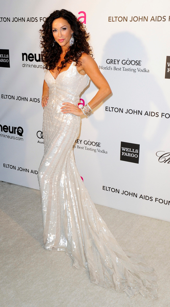 Description of . Actress Sofia Milos arrives at the 2013 Elton John AIDS Foundation Oscar Party in West Hollywood, California, February 24, 2013.  REUTERS/Gus Ruelas