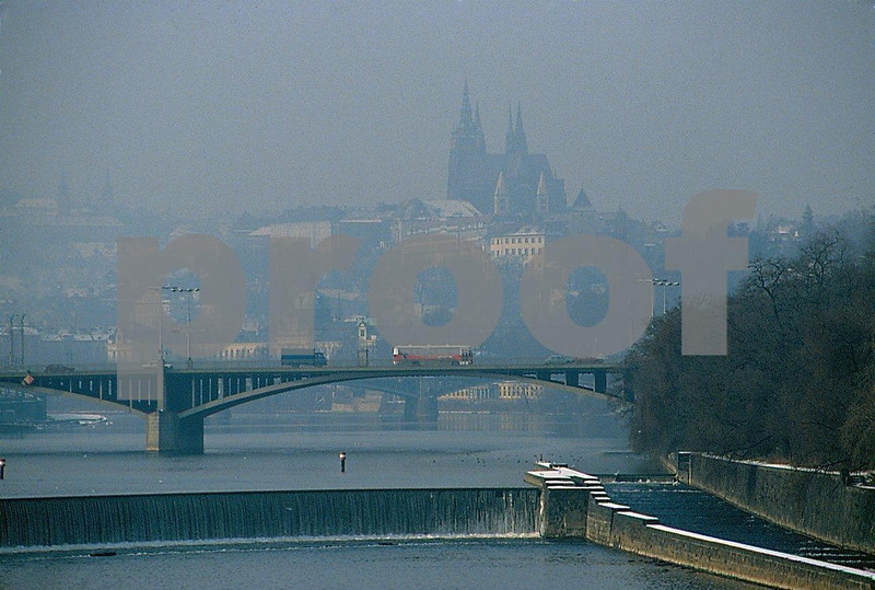 Due to the heavy use of coal for heating in the winter, the Prague city skyline is hazy until mid-afternoon.