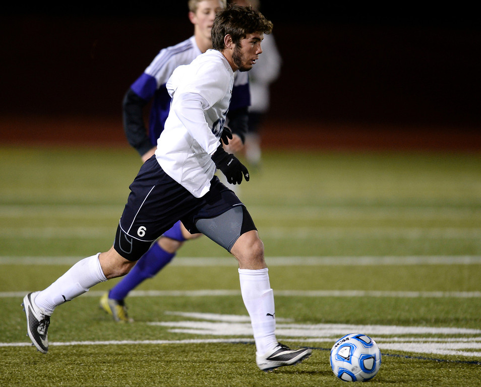. Aaron Haefner of Pine Creek High School (6) controls the ball against Boulder High School defense in the second half. (Photo by Hyoung Chang/The Denver Post)