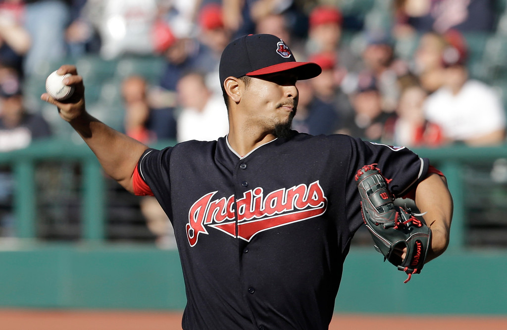 . Cleveland Indians starting pitcher Carlos Carrasco delivers in the first inning of a baseball game against the Tampa Bay Rays, Monday, May 15, 2017, in Cleveland. (AP Photo/Tony Dejak)