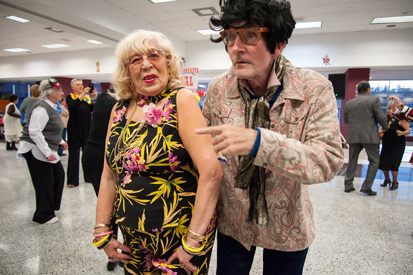 04/19/18 Wesley Bunnell | Staff Peg Mottola dances with Don Cmuchowski Thursday night at TRIAD's 20th annual senior prom held at New Britain High School which featured a carnival theme.