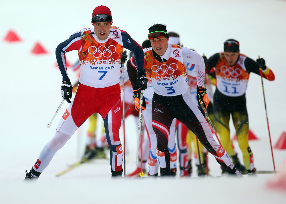 . 18: Magnus Hovdal Moan of Norway competes during the Nordic Combined Men\'s 10km Cross Country on day 10 of the Sochi 2014 Winter Olympics at RusSki Gorki Jumping Center on February 18, 2014 in Sochi, Russia.  (Photo by Robert Cianflone/Getty Images)