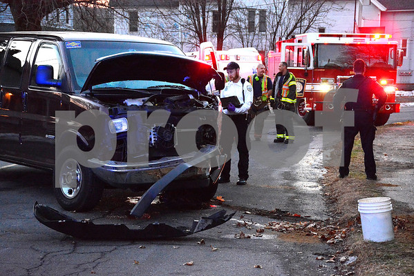 12/19/2017 Mike Orazzi | Staff The scene of a one vehicle crash on Prospect Street in Bristol Tuesday afternoon.