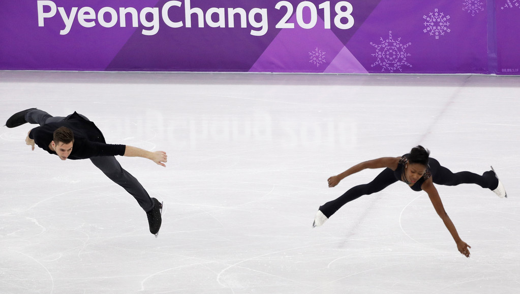. Vanessa James and Morgan Cipres, of France, perform in the pairs free skate figure skating final in the Gangneung Ice Arena at the 2018 Winter Olympics in Gangneung, South Korea, Thursday, Feb. 15, 2018. (AP Photo/David J. Phillip)