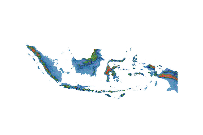Elevation map of Indonesia