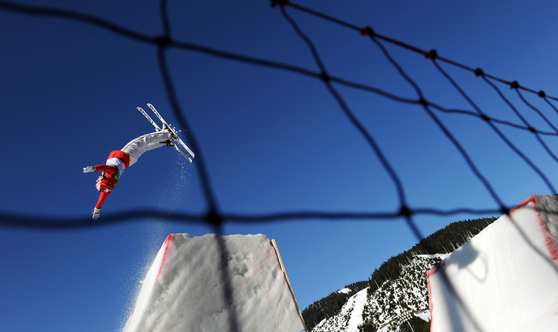 . Evelyne Leu of Switzerland practices her jump during the Women\'s Freestyle Skiing Aerials training at Cypress Mountain during the Vancouver Winter Olympics, north of Vancouver on February 19, 2010.  (ADRIAN DENNIS/AFP/Getty Images)