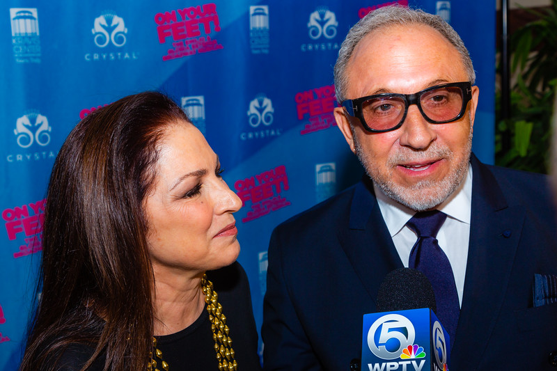 """Gloria and Emilio Estefan talk to the media before the opening of their musical """"ON YOUR FEET!"""" (The story of Emilio and Gloria Estefan) at the Kravis Center in West Palm Beach on Tuesday, January 8, 2019. [JOSEPH FORZANO/palmbeachdailynews.com]"""