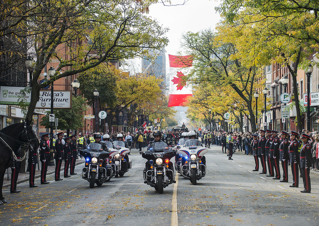. The funeral procession for Cpl. Nathan Cirillo approaches the Christ\'s Church Cathedral on October 28, 2014 in Hamilton, Ontario, Canada. Cirillo was shot and killed while on duty at Parliament Hill in Ottawa by Michael Zehaf-Bibeau on October 22.  (Photo by Aaron Vincent Elkaim/Getty Images)