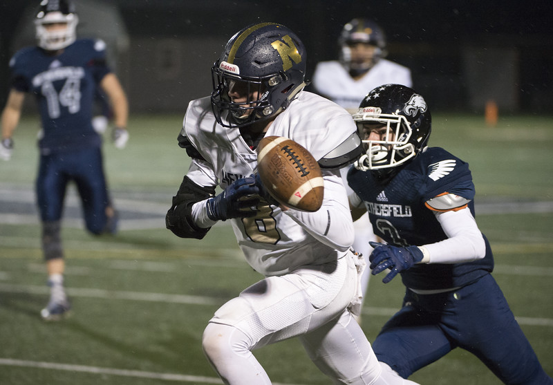 11/27/19  Wesley Bunnell | Staff  Newington football vs Wethersfield on Wednesday evening at Wethersfield High School.   WR Austyn Howe (8) is unable to come up with the catch.