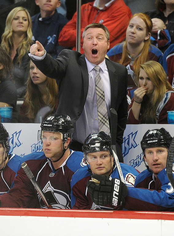 . Colorado coach Patrick Roy yelled from the bench in his first game as head coach for the Avalanche as the Avs hosted the Anaheim Ducks in a pre-season NHL game at the Pepsi Center Wednesday night, September 18, 2013.  Photo By Karl Gehring/The Denver Post