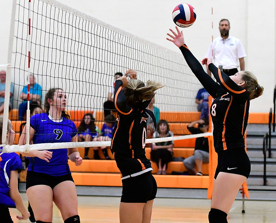 9/13/2018 Mike Orazzi | Staff Terryville's Tiffany Pires (8) during Thursday's match at Terryville High School.