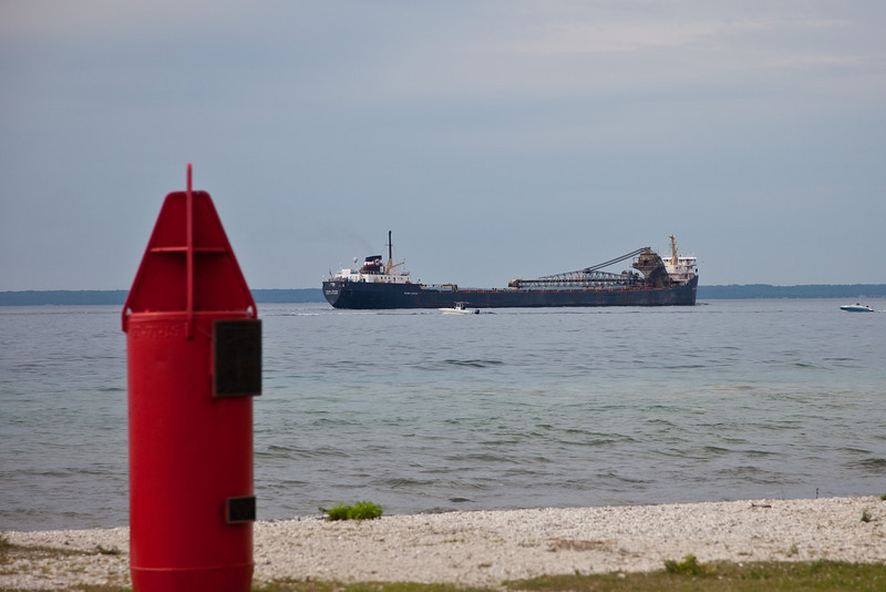 Freighter passing Mackinac I Harbour