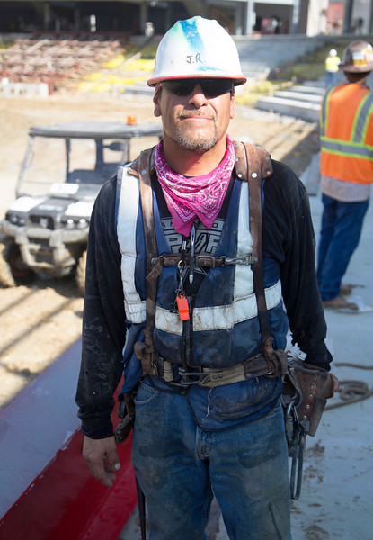 J. R. is one of the steel workers -- a friendly face.
