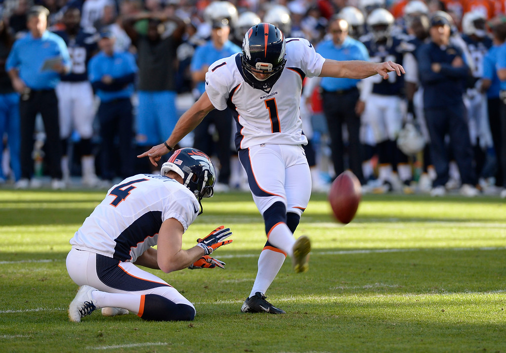 . SAN DIEGO, CA - DECEMBER 14: Denver Broncos kicker Connor Barth (1) hits a field goal in the second quarter against the San Diego Chargers December 14, 2014 at Qualcomm Stadium (Photo By John Leyba/The Denver Post)
