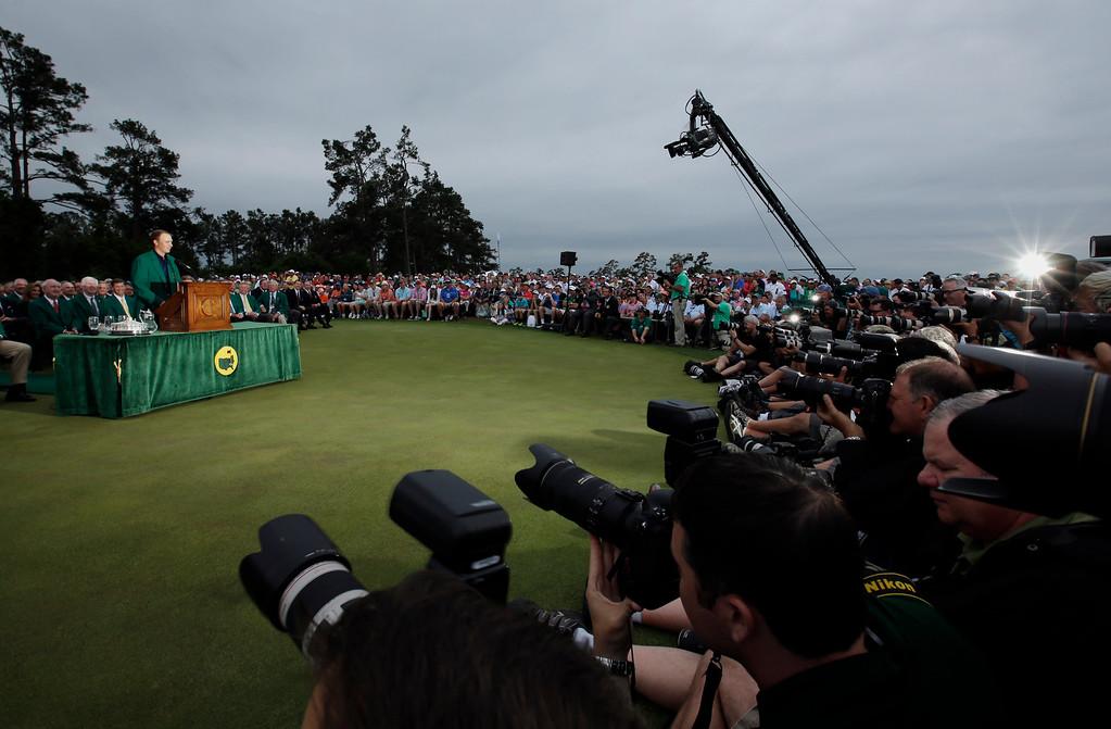 . Jordan Spieth speaks to the media after winning the Masters golf tournament Sunday, April 12, 2015, in Augusta, Ga. (AP Photo/Matt Slocum)