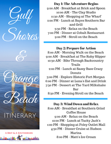 3 day itinerary to gulf shores and orange beach