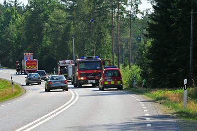 Lastbil kört av rv 30 norr Lammhult