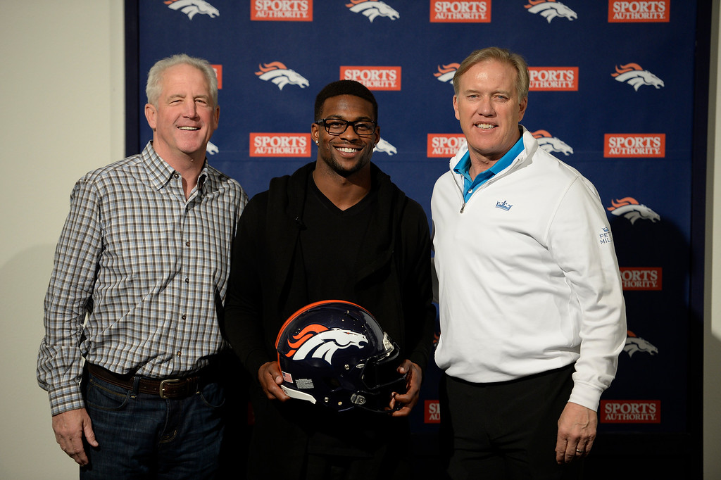 . ENGLEWOOD, CO - MARCH 16: Head coach John Fox, Emmanuel Sanders and John Elway Manager Vice President of Football Operations pose for photo after press conference. The Denver Broncos have agreed to terms on a three-year deal worth $15 million as he is introduced to the media March 16, 2014 at Dove Valley (Photo by John Leyba/The Denver Post)