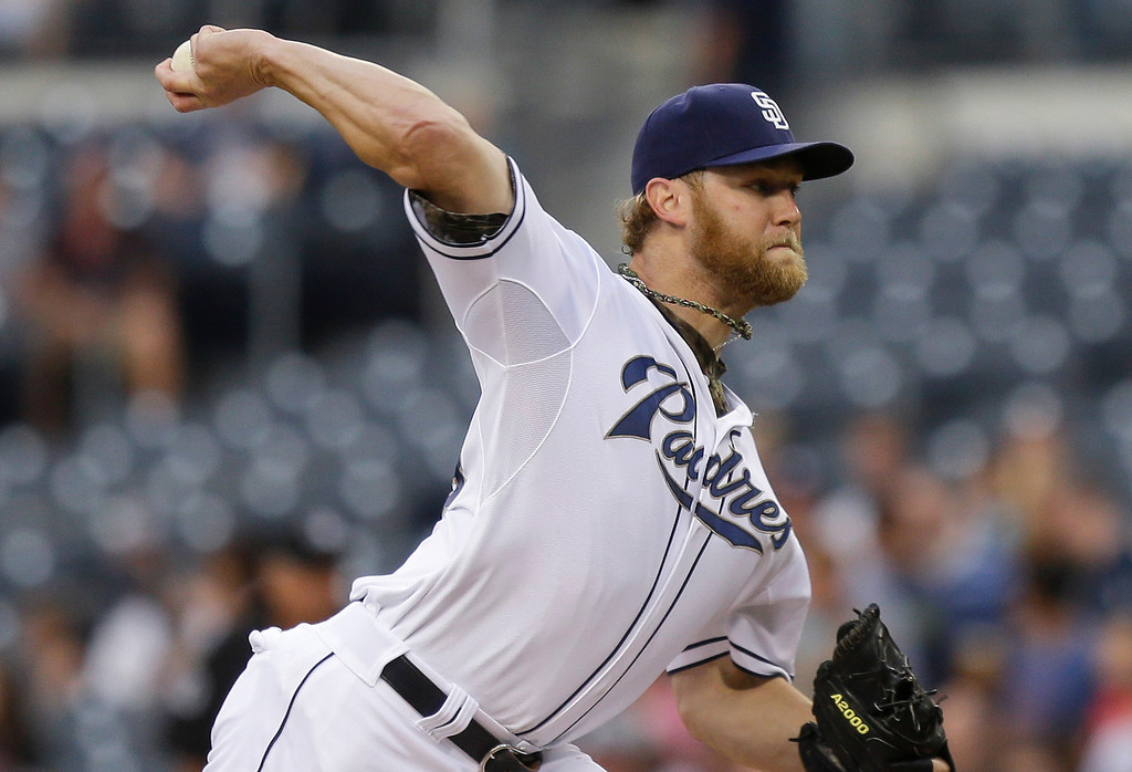 . San Diego Padres starting pitcher Andrew Cashner works against the Colorado Rockies during the first inning of a baseball game in San Diego, Wednesday, July 10, 2013. (AP Photo/Lenny Ignelzi)