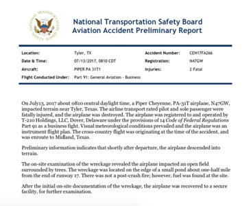 ntsb-releases-preliminary-crash-report-on-fatal-plane-crash-near-tyler-pounds-airport