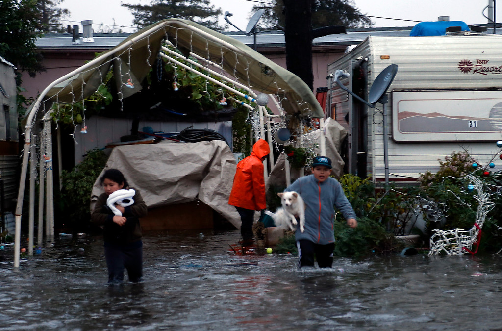 . Monica Guzman, with her cousin Ernesto Perez, evacuate her pet dogs from the flooded Le Mar Trailer Park in Redwood City, Calif., Thursday evening, Dec. 11, 2014. (Karl Mondon/Bay Area News Group)