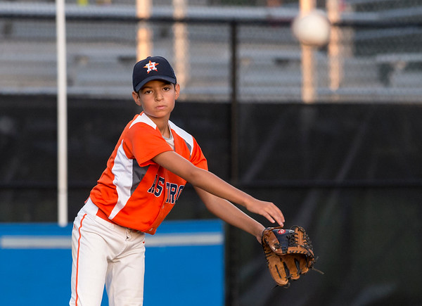 08/26/19 Wesley Bunnell | Staff The McCabe-Waters Astros defeated the Forrestville Dodgers 3-0 at Breen Field on Monday night in the city series to force a winner takes all on Wednesday. Mason Allen (6).