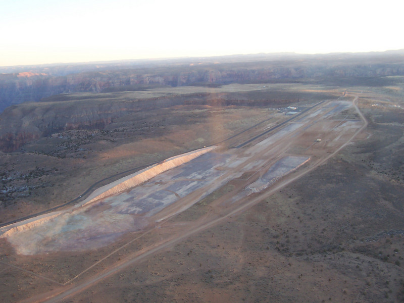 Construction on a larger runway at the Hualapi Nation airport at the Grand Canyon.