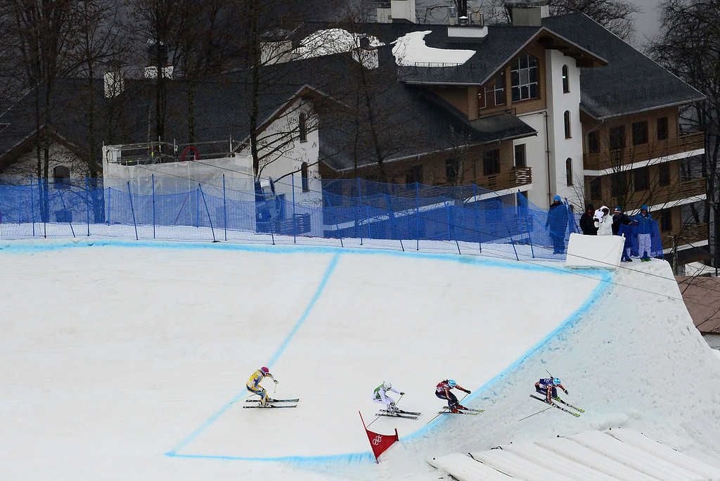 . Gold Medallist, Canada\'s Marielle Thompson (R) races ahead of Silver Medallist, Canada\'s Kelsey Serwa (2nd R), Bronze Medallist, Sweden\'s Anna Holmlund (L) and France\'s Ophelie David in the Women\'s Freestyle Skiing Ski Cross Final at the Rosa Khutor Extreme Park during the Sochi Winter Olympics on February 21, 2014.     AFP PHOTO / JAVIER SORIANO/AFP/Getty Images