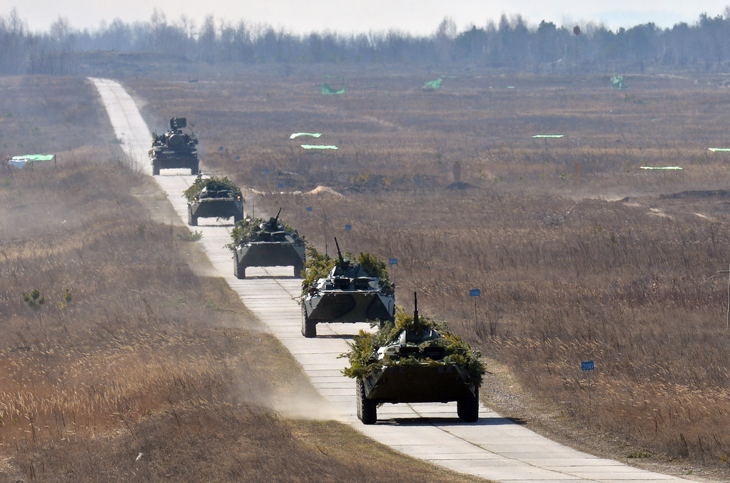 . Armored vehicles take part in a military drill held by the Ukrainian army not far from the small city of Goncharovskoye, some 150 km from Kiev, on March 14, 2014. Russia on March 14 declared it reserved the right to protect compatriots in the whole of Ukraine, seen as a threat that Moscow could move its forces beyond the Russian-speaking peninsula of Crimea.  SERGEI SUPINSKY/AFP/Getty Images