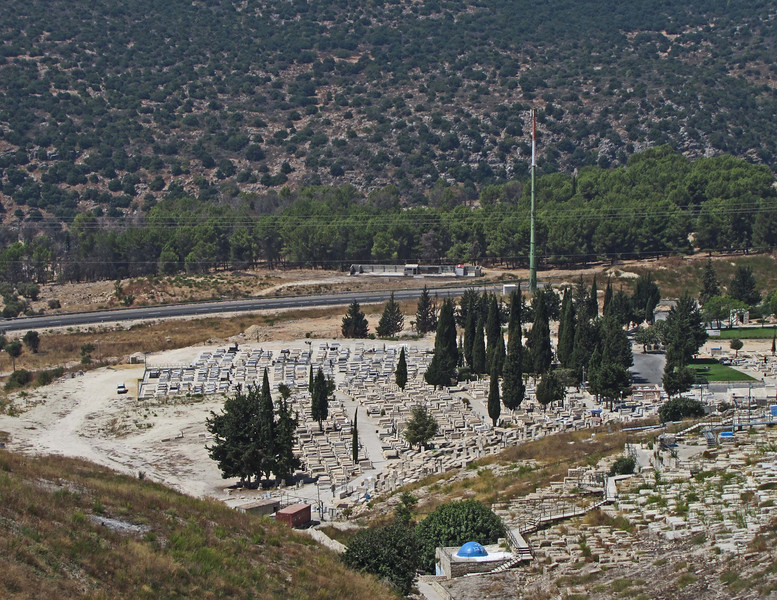 49-Safed cemetery. The Cypress grove marks the graves of 22 Safed high schools students killed by Palestinian terrorists in May 1974 while on a field trip to Ma'alot, 6 miles from the Lebanese border.