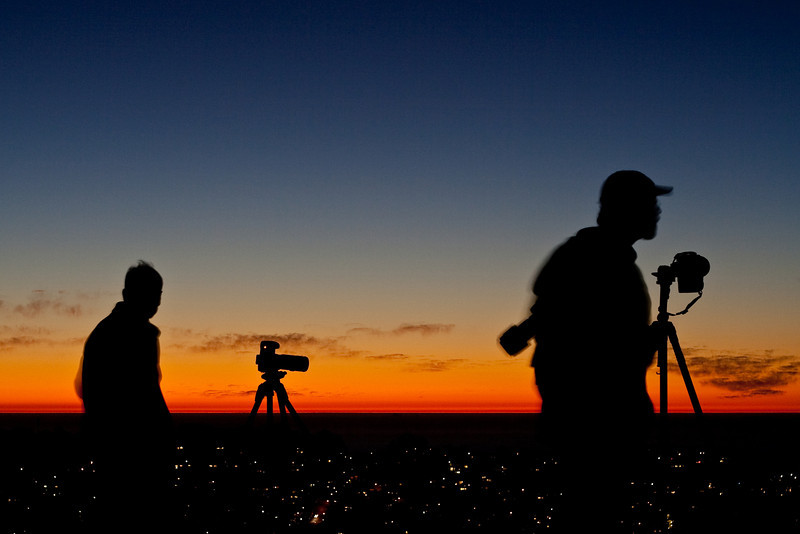 Photographers on Twin Peaks after sunset