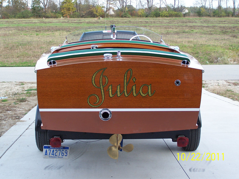 Transom view of finished boat.
