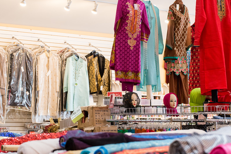 Mirage Sari is filled with Indian fabrics, casual everyday wear, formal fashions for parties or weddings, children's clothing, accessories and colorful details.  The tailor onsite is known as Uncle and he can modify anything in the store and build a custom piece from the extensive fabrics available at the Decatur location.  They have a sister store in Patel Plaza.  (Jenni Girtman / Atlanta Event Photography)
